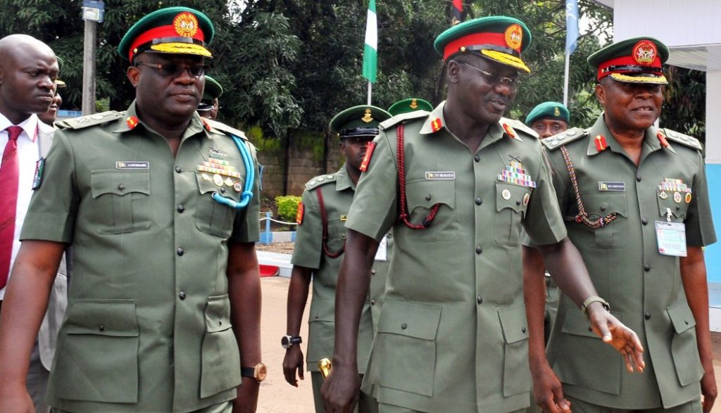 Image: Army chief Tukur Buratai implicated on left, General Officer Commanding the Nigerian Army 1st Division in Kaduna, Adeniyi Oyebade on right